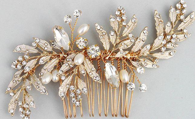 ozdoba na ślub Złoty Liść Grzebień Biżuteria Kryształ