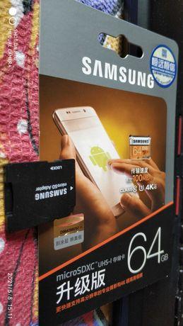 Карта памяти Samsung 64 GB microSDXC Class 10 UHS-I U3 EVO +SD Adapter