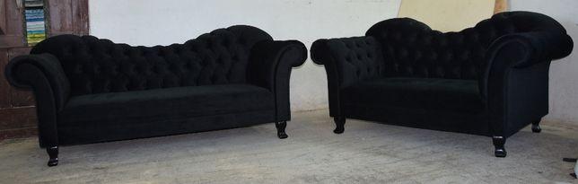 Zestaw sof Chesterfield w kolorze czarnym 3+2 oraz pufa ze schowkiem