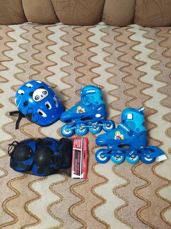 Ролики (новые)  PAPAISON 31-34 размер, с защитой и шлемом.