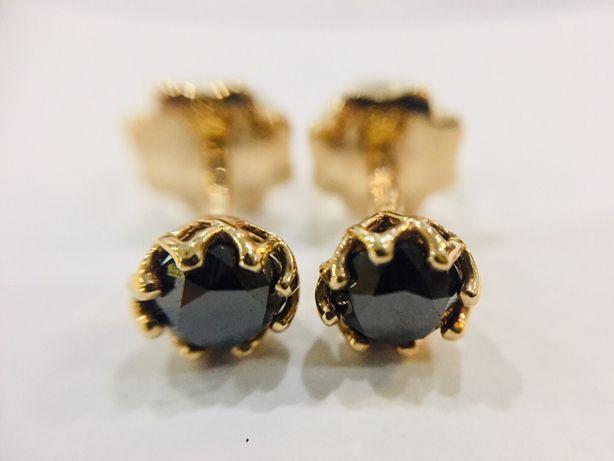 Золотые сережки с Черными Бриллиантами. 1.1 карат. Серьги, пусеты.