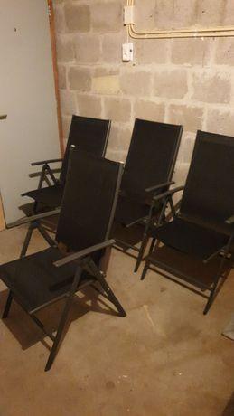 Krzesła 4 ogrodowe aluminiowe SKŁADANE