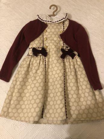 Conjunto de Inverno para criançao: vestido + casaco