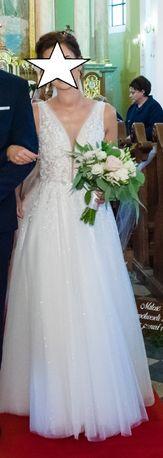 Suknia ślubna literka A śmietankowa 38