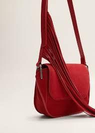 Сумка MANGO с бахромой. Красная сумка. Кожа.