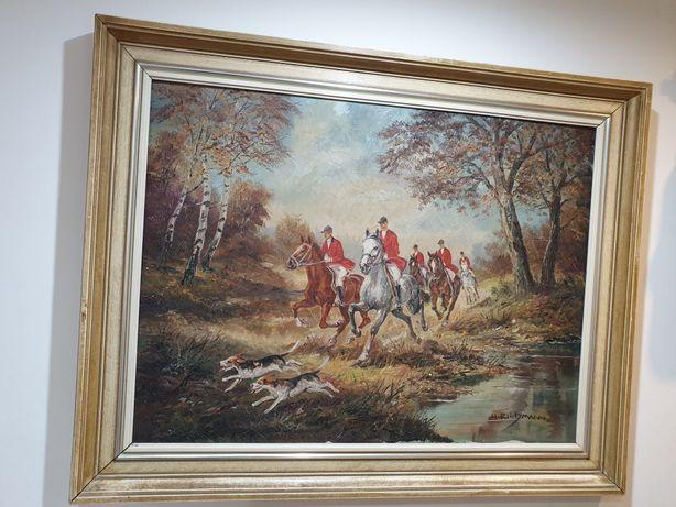 Obraz na płótnie H.Riedmann dla myśliwego pędzące konie