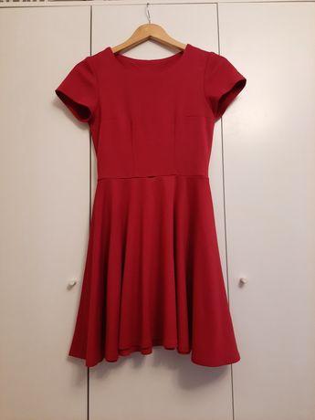 Czerwona burgundowa sukienka rozmiar S