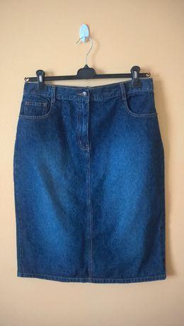 Spódnica dżinsowa / jeansowa – granatowa, ze szlufkami (r. 40 / L)