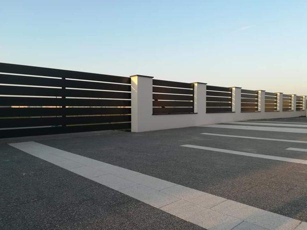 Ogrodzenie frontowe kompleksowo, palisadowe, Joniec, gabion, aluminium