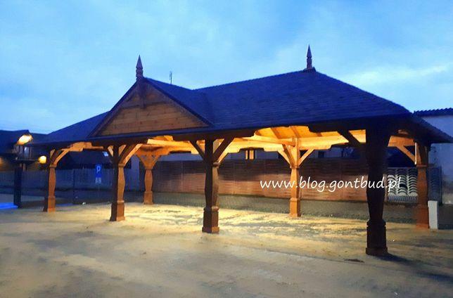 gontbud.pl Wiata drewniana, garaż drewniany, altana biesiadna, altanka