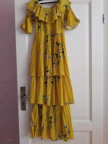 Żółta sukienka jak self portrait plisowana hiszpanka maxi