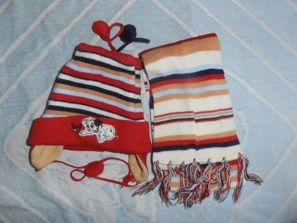 Шапочка и шарфик весенние на 3-5 лет
