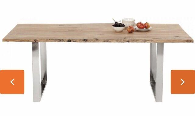 Piekny lofowy stol, gruby debowy blat + chrom OKAZJA!
