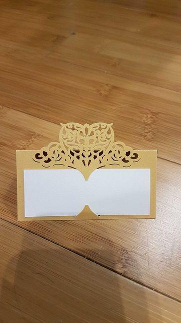 Winietki złote ślub, komunia, przyjęcie wycinane laserowo
