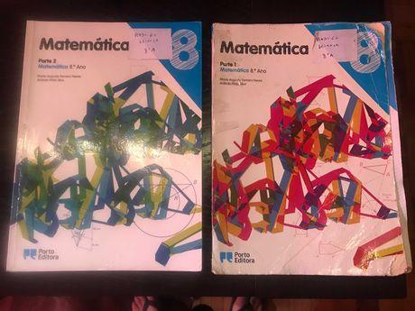 livros matemática PI do 7 ano Asa e Matemática 8 Porto editora