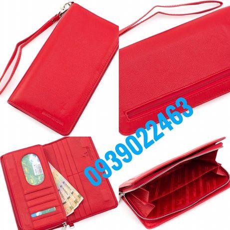 Женские яркий вертикальный кошелек красного цвета из натуральной кожи