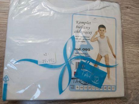 Bielizna biała nowa majtki i podkoszulek 128