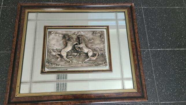 """Quadro Italiano em Prata Arg. 925 """"Cavalos"""""""