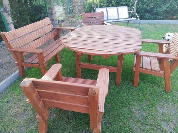 Meble ogrodowe stół, ławka i 3 krzesła