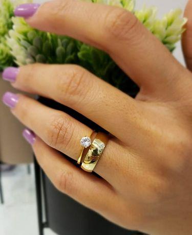 KOMPLET! Złota Obrączka Ślubna + Pierścionek