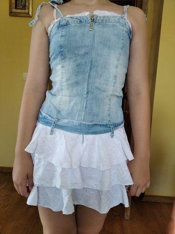 Плаття джинсове, комбіноване