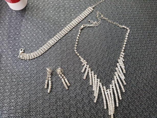 Komplet biżuterii cyrkonie naszyjnik kolczyki bransoletka
