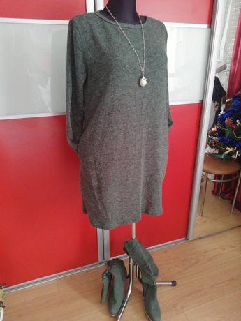 Zielona dzianinkowa sukienka L
