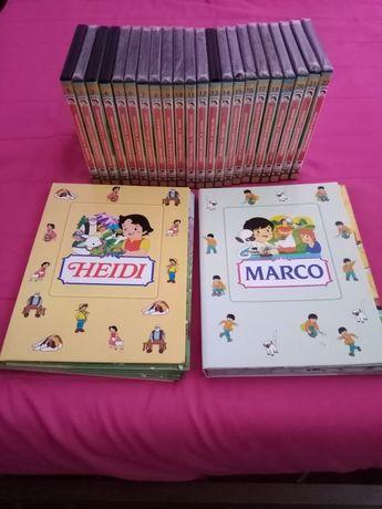 Coleção de livros e dvd's da Heidi e do Marco.