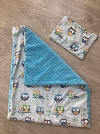 Kołderka dla maluszka Minky sowy + poduszka