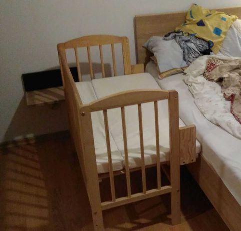 Łóżeczko niemowlęce + dostawka, drewniane, składane. HIT!