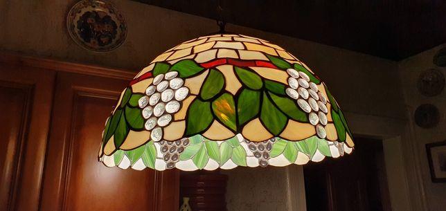 Lampa witrażowa szklana z motywem winogron 42cm