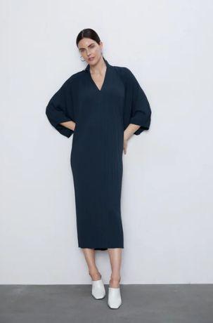 Свободное плотное длинное платье zara