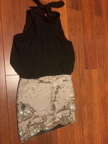 Sukienka 38 z cekinami czarno złota