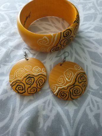 Komplet biżuterii, bransoletka i kolczyki, ręcznie malowane