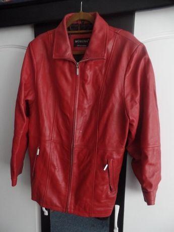 40 ZETA !! Skórzana czerwona kurtka - - rozm 44 -