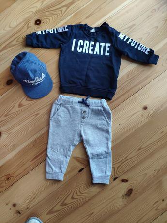 Zestaw dres h&m r.74 bluza spodnie czapka z daszkiem