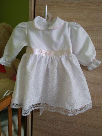Sukienka na chrzest 68 z czapeczką