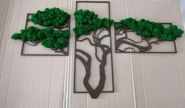 Obraz z mchu tryptyk drzewo afrykańskie 100 x 60 cm