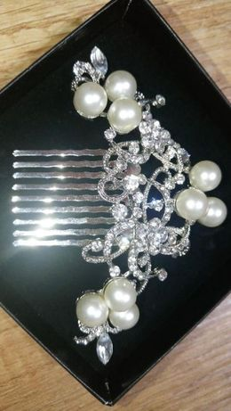 ozdoba włosów grzebień ślub perły diamenty błyszcząca efektowna