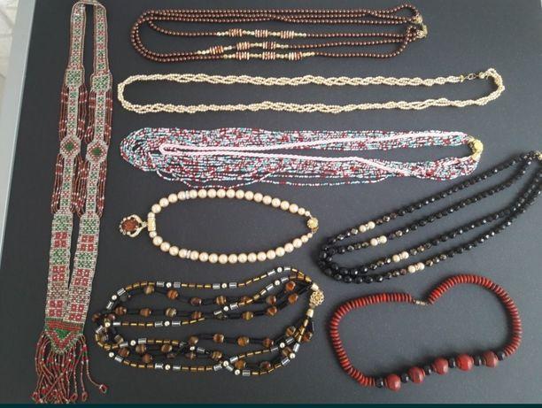 Бусы винтаж из разных натуральных камней + бижутерия, намисто