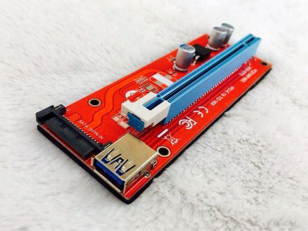Райзер сата 007s красный ЕСТЬ ГАРАНТИЯ 60см USB PCI-E 1-16 sata ОПТ