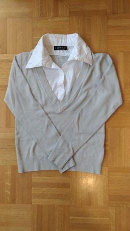 Elegancki sweter z białym kołnierzem