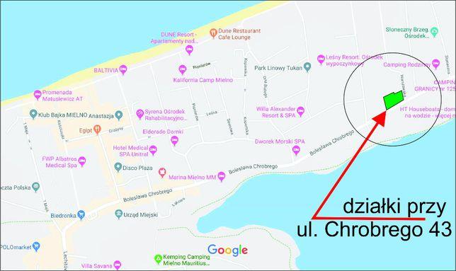 Działka do wynajęcia Mielno ok 1600m2 przy głównej drodze B. Chrobrego