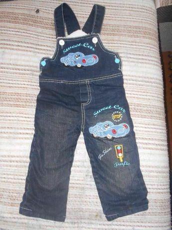 Джинсовый тёплый зимний комбинезон джинсы штаны