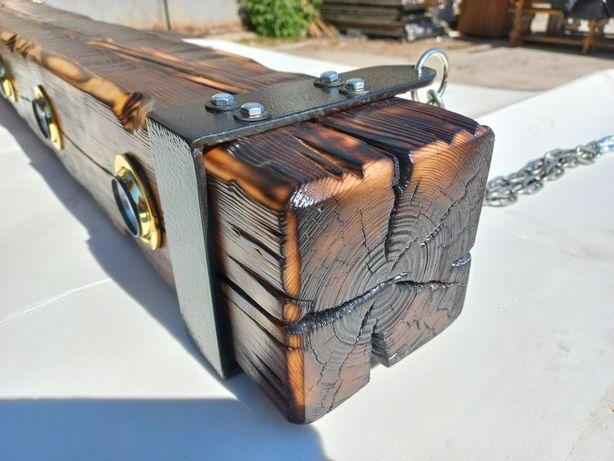 Деревянный светильник.L-1350mm. БРУС  ЦЕЛЬНЫЙ 140Х140mm.на 5 ламп