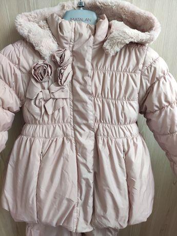 Шикарный теплый зимний комбинезон Wojcik 98 цвет Розовая пудра