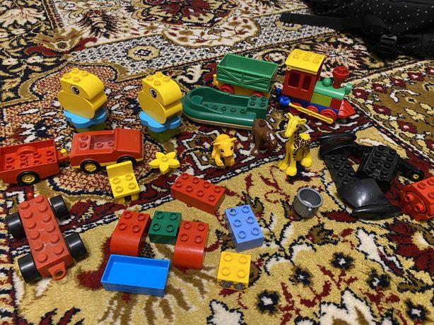 Lego duplo поезд, машинка, лодка, животные, кубики