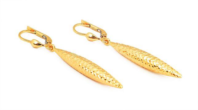 Złote kolczyki wiszące frezowane 3926/31