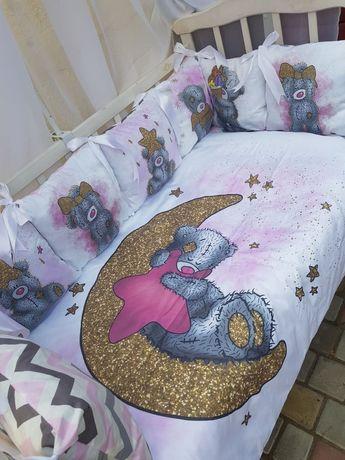 Детское постельное белье, бортики в кроватку, подушки, одеяло