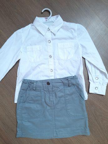 Strój galowy dla dziewczynki: biała koszula 5.10.15.  spódniczka 104cm